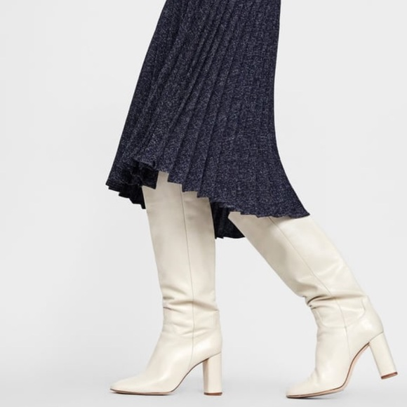Zara Shoes White Knee High Boots